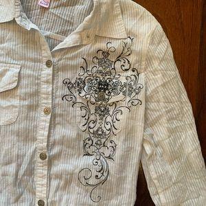 3/$15 White cotton shirt w/  cross and rhinestones